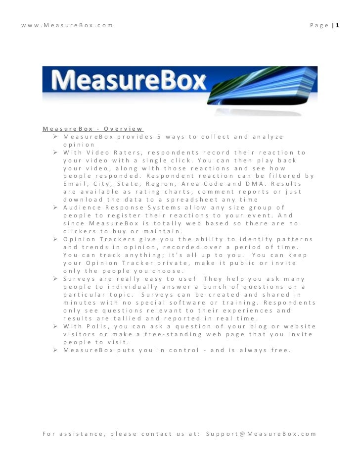 www.MeasureBox.com                                              Page |1    MeasureBox - Overview       MeasureBox provide...