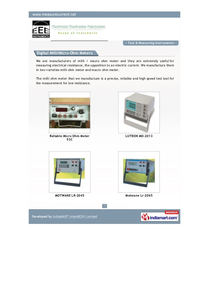 Ohmmeter Good Measurements And A High Low : Electricals electronics enterprise chennai test