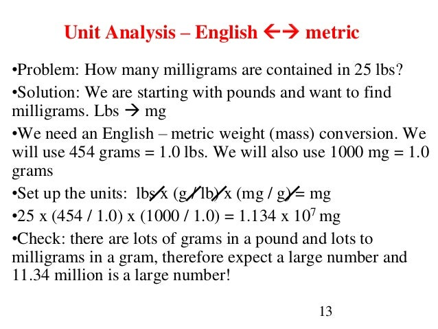 13 Unit Analysis – English  metric •Problem: How many milligrams are contained in 25 lbs? •Solution: We are starting wit...