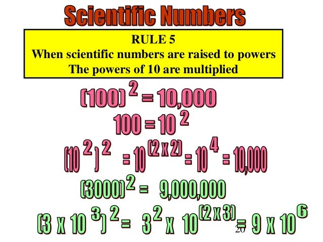 20 RULE 5 When scientific numbers are raised to powers The powers of 10 are multiplied