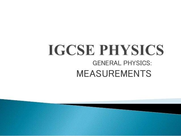 IGCSE PHYSICS Measurement