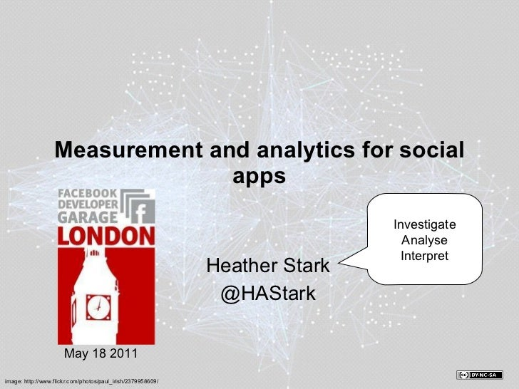 Measurement and analytics for social apps Heather Stark @HAStark Investigate Analyse Interpret May 18 2011