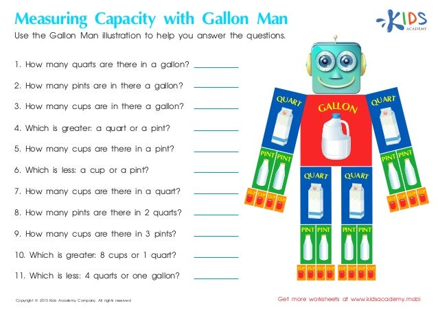 picture regarding Gallon Man Printable identified as Dimension for little ones - free of charge printable worksheets