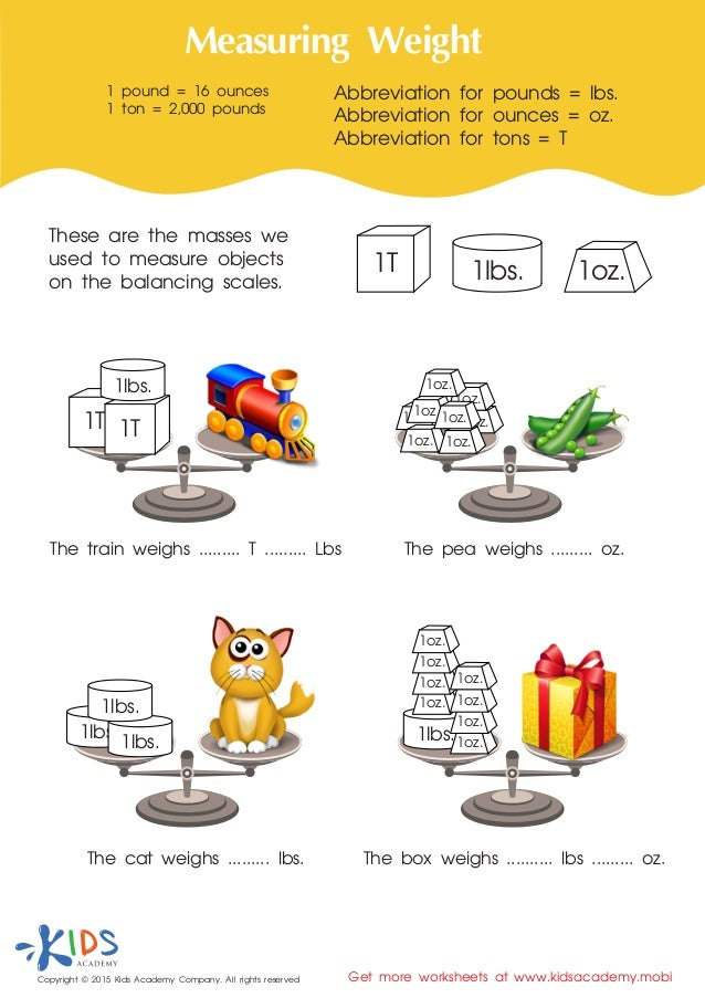 Measurement for kids - free printable worksheets