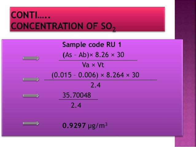 Sample code RU2 (As – Ab)× 8.26 × 30 Va × Vt (0.026 – 0.006) × 8.264 × 30 2.4 2.06 µg/m3
