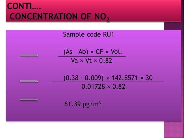 Sample code RU2 (As – Ab) × CF × Vol. Va × Vt × 0.82 (0.38 – 0.009) × 142.8571 × 30 0.01728 × 0.82 61.39 µg/m3