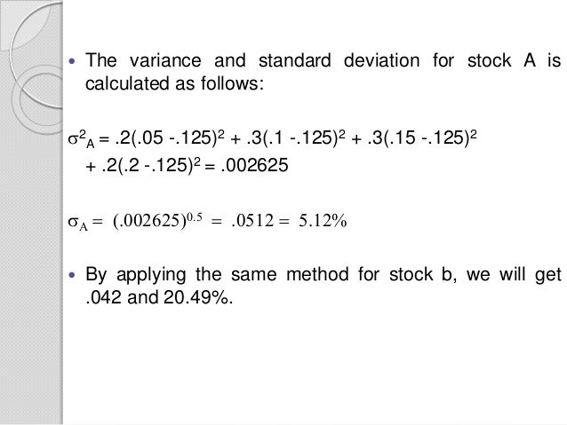 Measurement of risk and calculation of portfolio risk 6 the variance and standard deviation for stock a is calculated ccuart Images