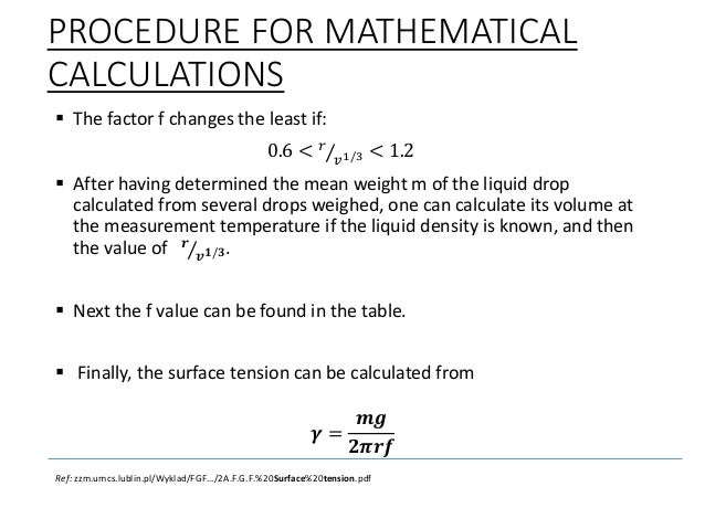 Measurement of surface tension