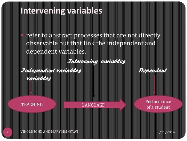 moderating and intervening variables A variable that explains a relation or provides a causal link between other variables and moderating variable is that influences, or moderates, the relation between two other variables and thus produces an interaction effect.