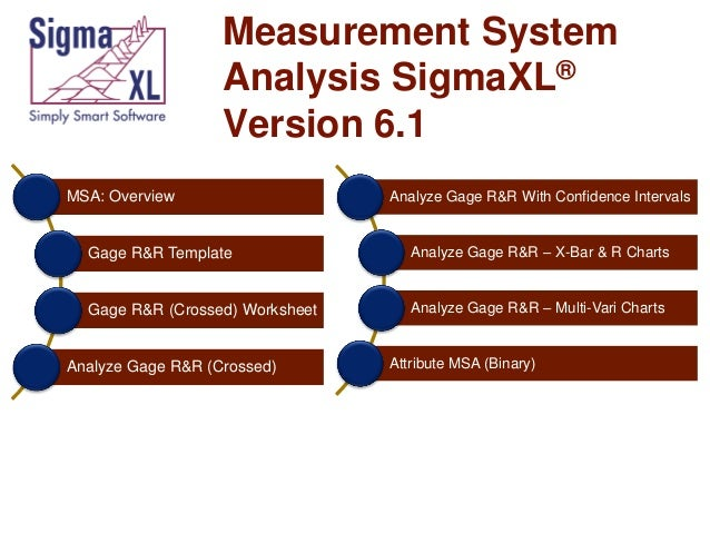 Measurement System Analysis SigmaXLR Version 61 MSA Overview Analyze Gage RR With Confidence Intervals