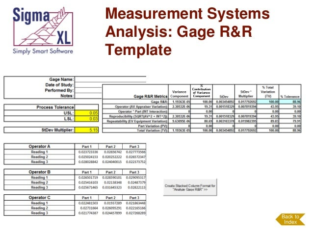 Measurement system analysis for Attribute gage r r excel template