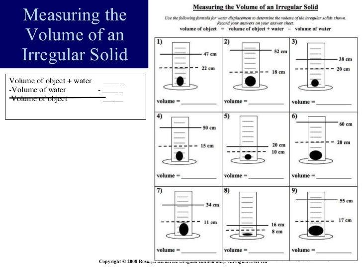 Measurement Volume Share Bst2009 – Water Displacement Worksheet