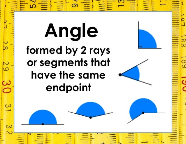 Angle formed by 2 rays or segments that have the same endpoint