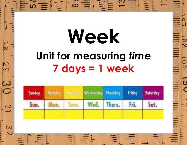 Week Unit for measuring time 7 days = 1 week