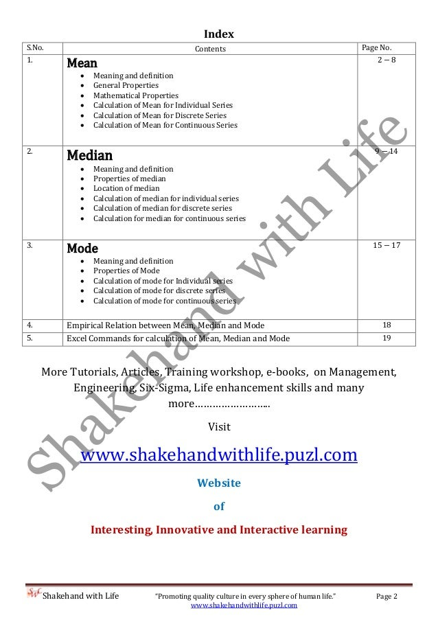 Worksheets Formula Of Statistics Mean Mode Median measure of central tendency mean median and mode