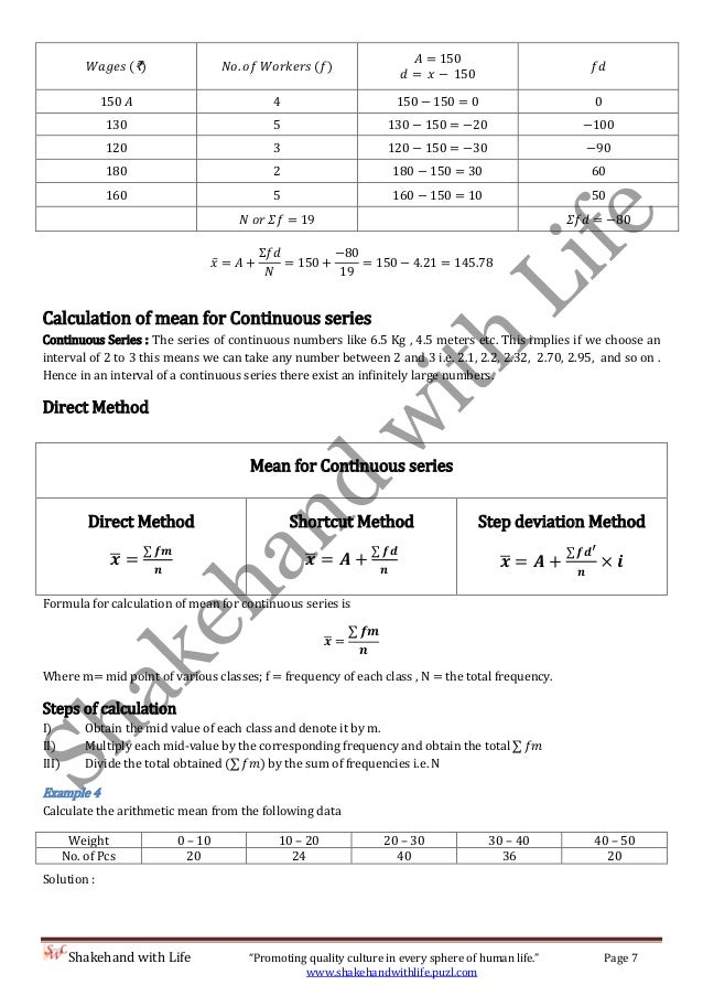 Worksheets Formula Of Statistics Mean Mode Median measure of central tendency mean median and mode shortcut method 8