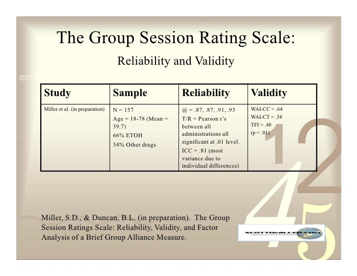 The Group Session Rating Scale:                                        Reliability and Validity 0011 0010 1010 1101 0001 0...