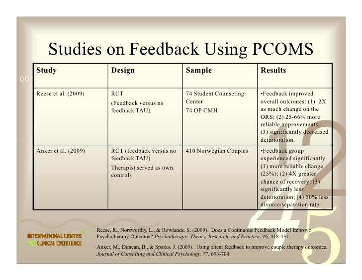 Studies on Feedback Using PCOMS    Study                       Design                           Sample                    ...