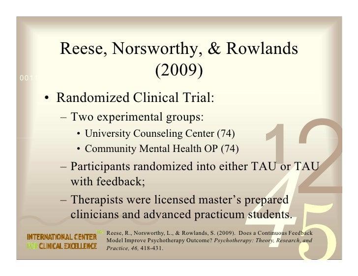 Reese, Norsworthy,  Rowlands                                (2009) 0011 0010 1010 1101 0001 0100 1011     • Randomized Cli...