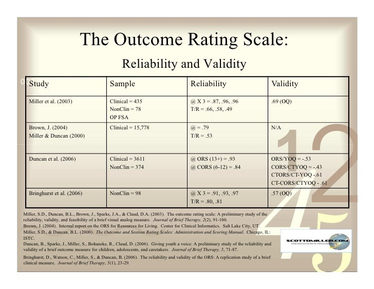 The Outcome Rating Scale:                                                     Reliability and Validity 0011 0010 1010 1101...