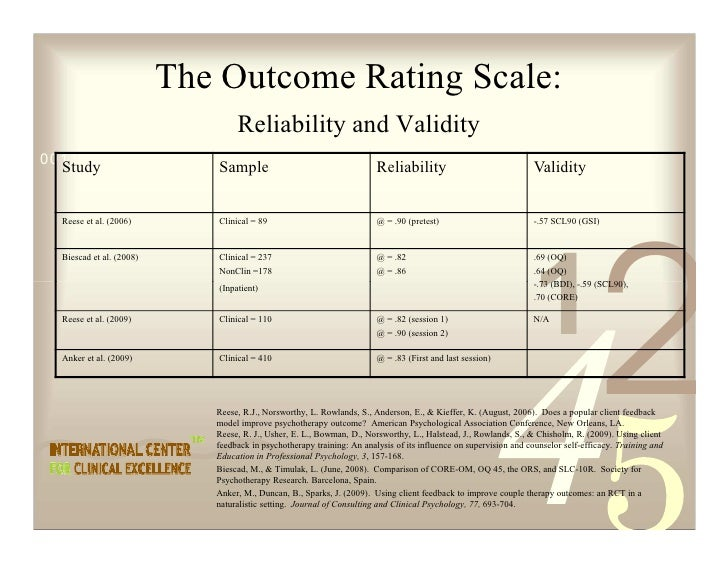 The Outcome Rating Scale:                                   Reliability and Validity 0011 0010 1010 1101 0001 0100 1011   ...