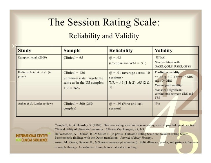 The Session Rating Scale:                                            Reliability and Validity 0011 0010 1010 1101 0001 010...