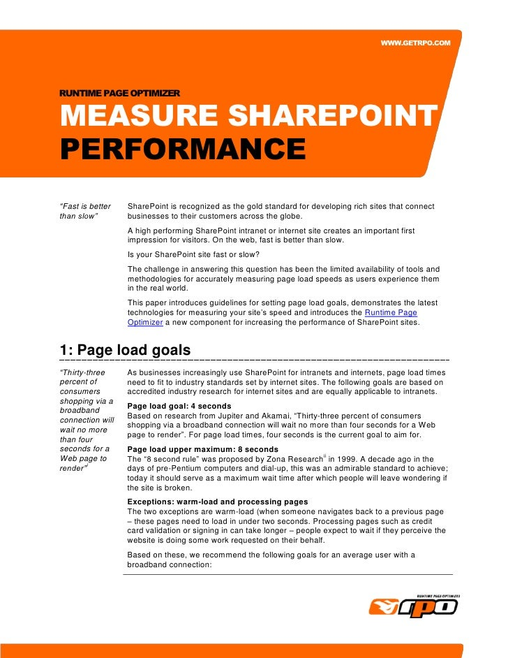 "WWW.GETRPO.COM     RUNTIME PAGE OPTIMIZER   MEASURE SHAREPOINT PERFORMANCE ""Fast is better   SharePoint is recognized as t..."