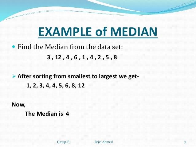 Measures of central tendency example of median find ccuart Images