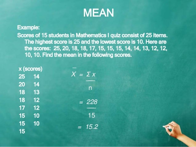 Mean median mode measures of central tendency 4 mean example ccuart Images