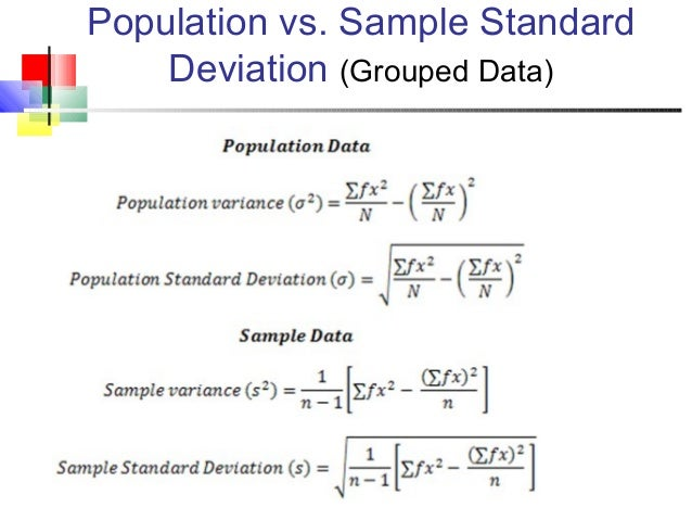 Descriptive statistics: population vs. Sample.