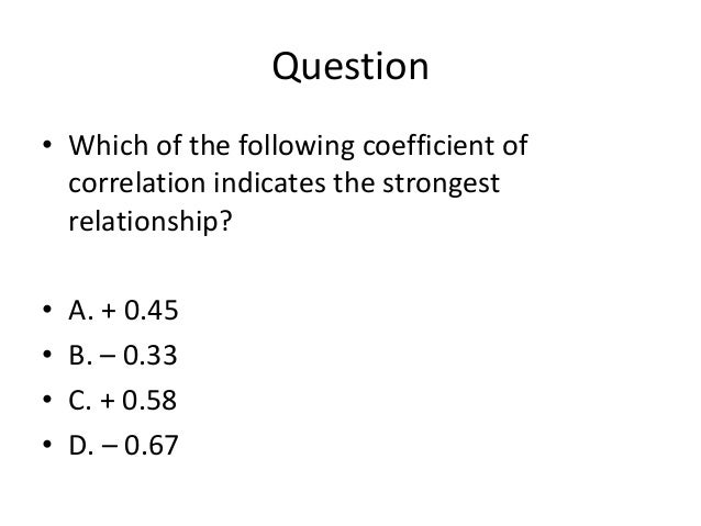 which of the following correlation coefficients shows strongest relationship