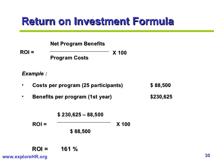 roi example A return on investment as a metric for evaluating information systems: taxonomy and application for example, roi of 100% means that the amount of the return.