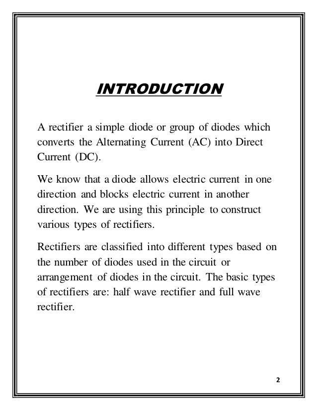 Project On Full Wave Rectifier For Class 12 Pdf