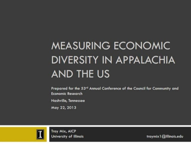 Measuring economic diversity in Appalachia and the US