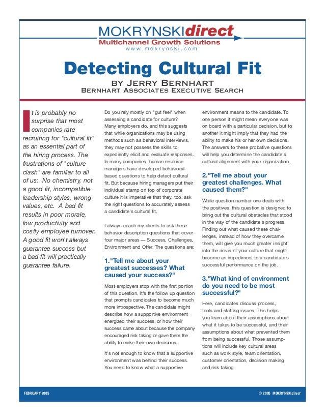 www.mokrynski.com                Detecting Cultural Fit                                   by Jerry Bernhart               ...