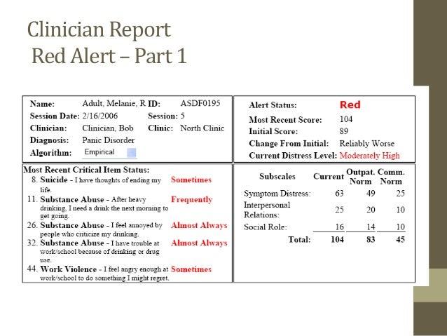 Clinician Report Red Alert –Part 2