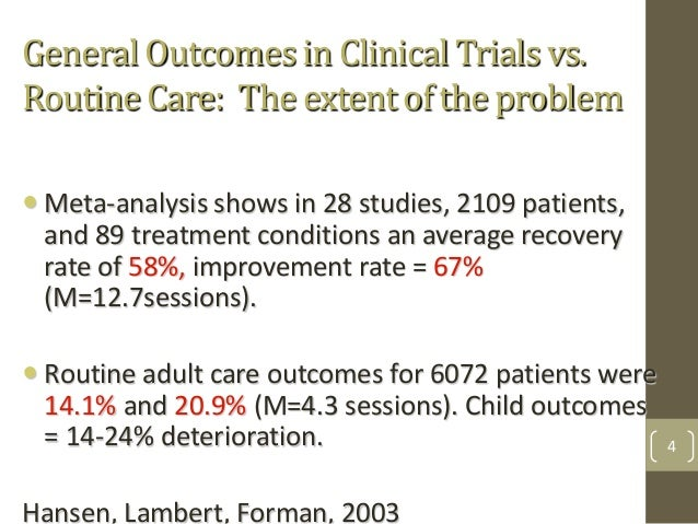General Outcomes in Clinical Trials vs. Routine Care: The extent of the problem Meta-analysis shows in 28 studies, 2109 p...