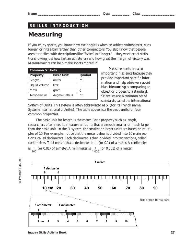 Measuring packet – Reading a Triple Beam Balance Practice Worksheet