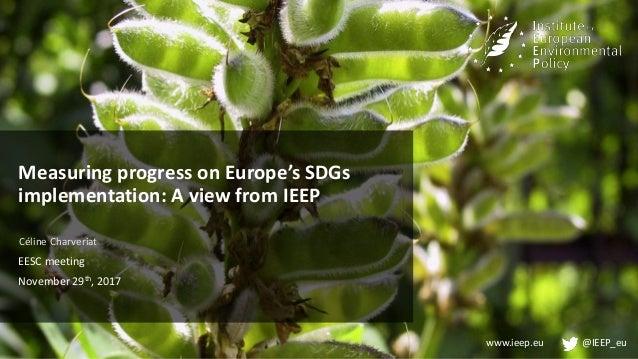 www.ieep.eu @IEEP_eu Measuring progress on Europe's SDGs implementation: A view from IEEP Céline Charveriat EESC meeting N...
