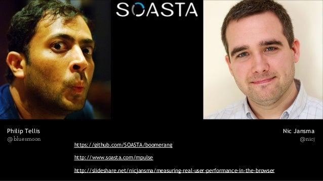 Philip Tellis @bluesmoon Nic Jansma @nicj https://github.com/SOASTA/boomerang http://www.soasta.com/mpulse http://slidesha...