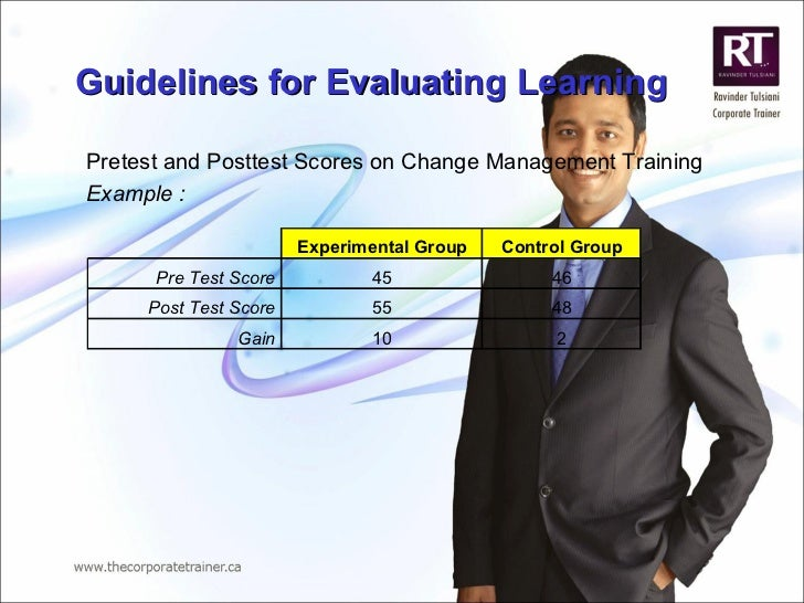 Guidelines for Evaluating Learning Pretest and Posttest Scores on Change Management Training Example :