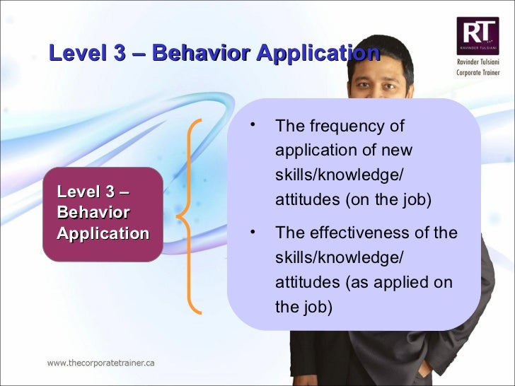 Level 3 – Behavior Application <ul><li>The frequency of application of new skills/knowledge/ attitudes (on the job) </li><...