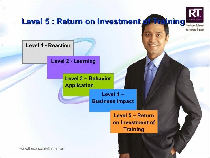 Level 5 : Return on Investment of Training Level 1 - Reaction Level 2 - Learning Level 3 – Behavior Application Level 4 – ...