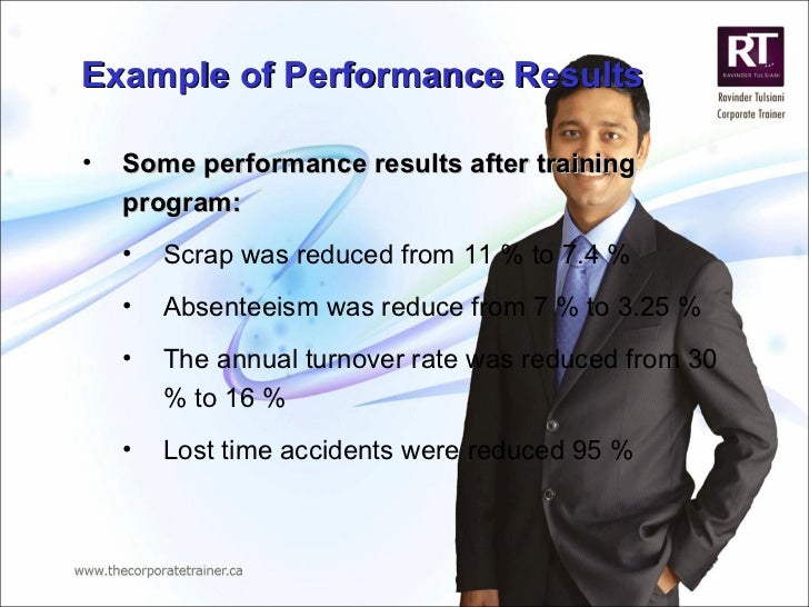 Example of Performance Results <ul><li>Some performance results after training program: </li></ul><ul><ul><li>Scrap was re...