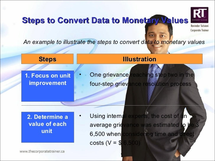 Steps to Convert Data to Monetary Values An example to illustrate the steps to convert data to monetary values 1. Focus on...