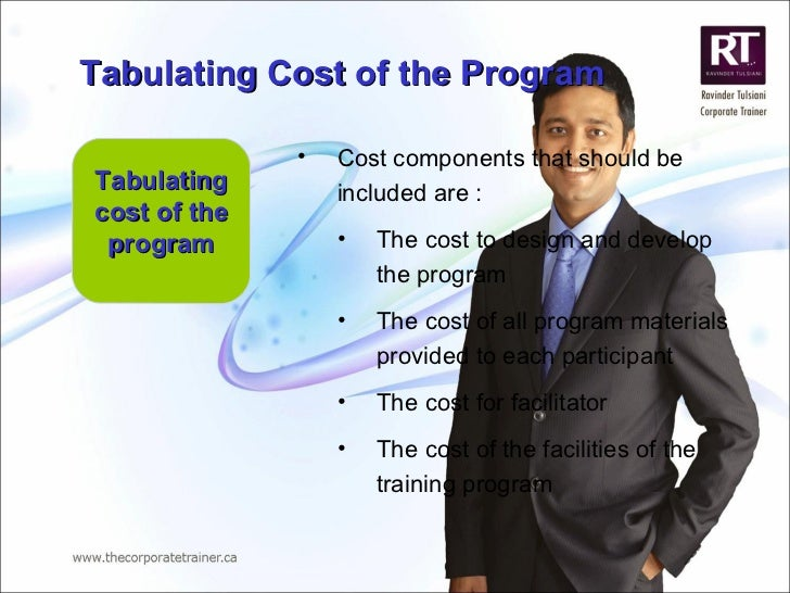 Tabulating cost of the program <ul><li>Cost components that should be included are : </li></ul><ul><ul><li>The cost to des...