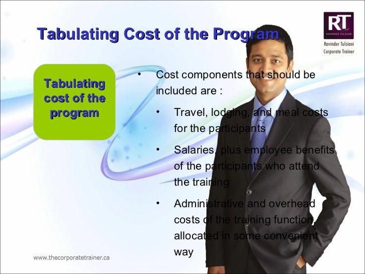 Tabulating cost of the program <ul><li>Cost components that should be included are : </li></ul><ul><ul><li>Travel, lodging...
