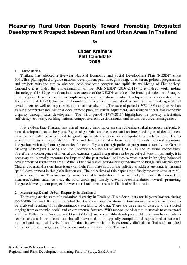 Measuring Rural-Urban Disparity Toward Promoting IntegratedDevelopment Prospect between Rural and Urban Areas in Thailand ...