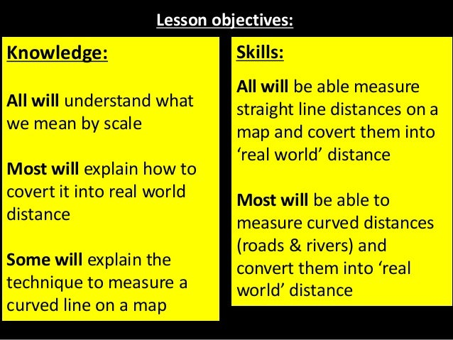 Lesson objectives: Knowledge: All will understand what we mean by scale Most will explain how to covert it into real world...