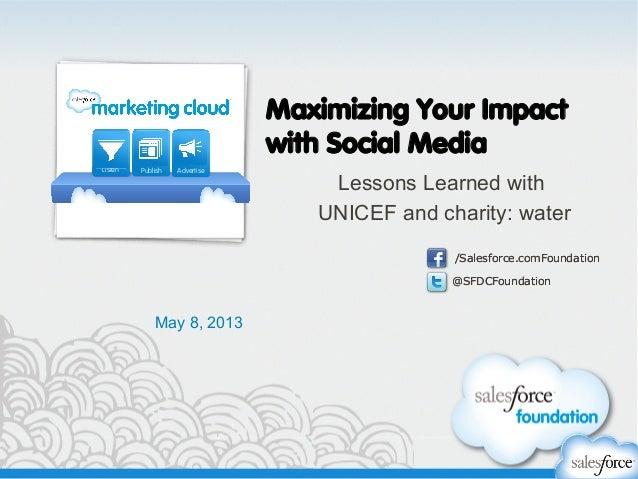 @SFDCFoundation/Salesforce.comFoundation@SFDCFoundation/Salesforce.comFoundationMaximizing Your Impactwith Social MediaLes...